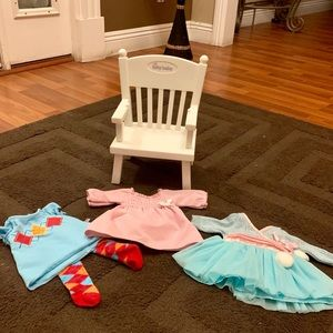 American Girl bitty baby chair and clothes